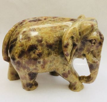 Lucky ELEPHANT WALKING 6.5cm Tall Marble ONYX Decorative Ornament Stone